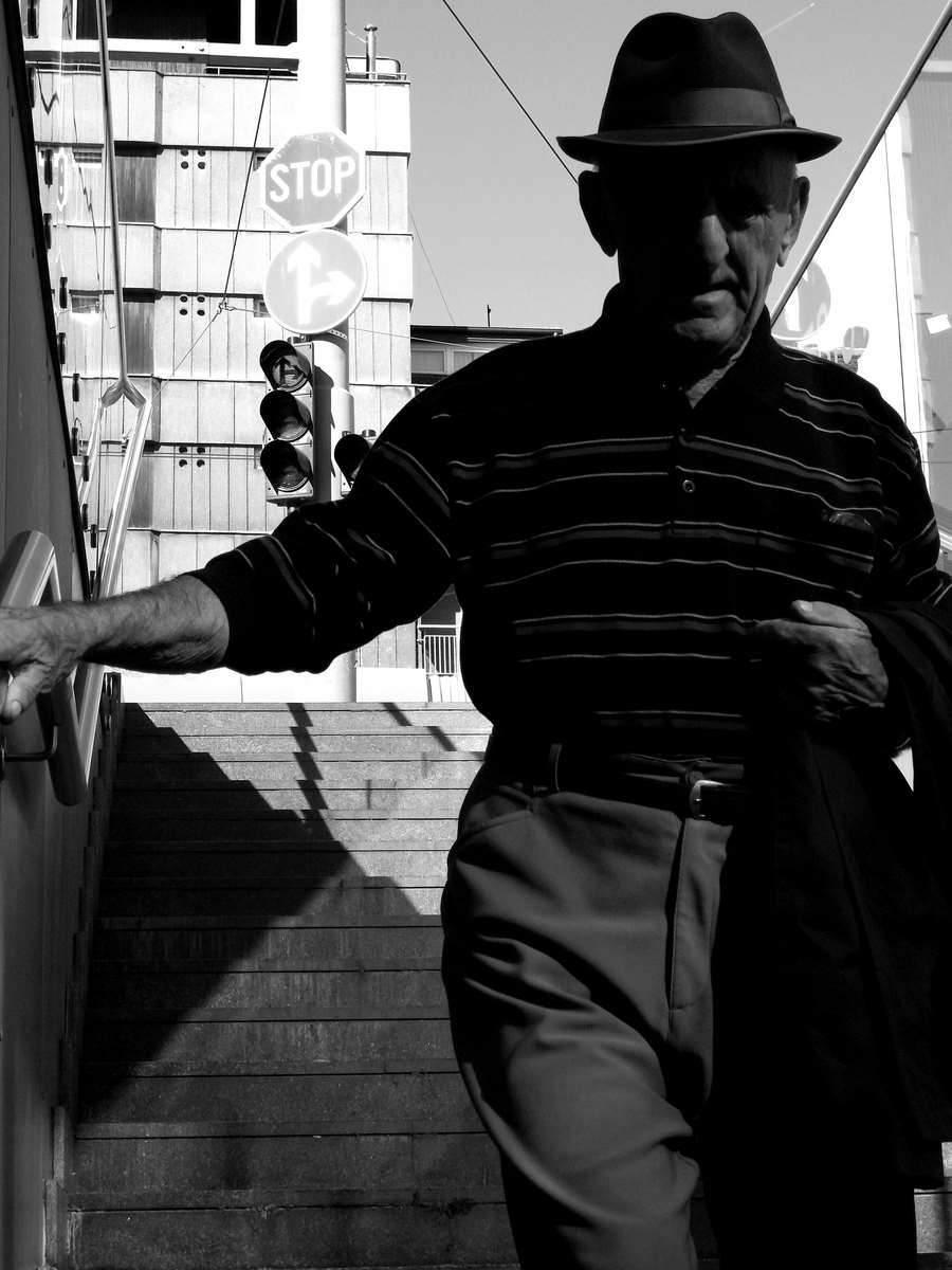 Grandpa in the stairs-bw