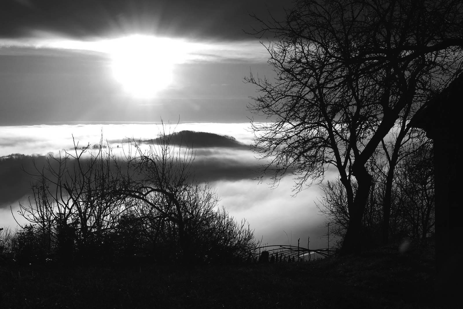 Morning Clouds - bw