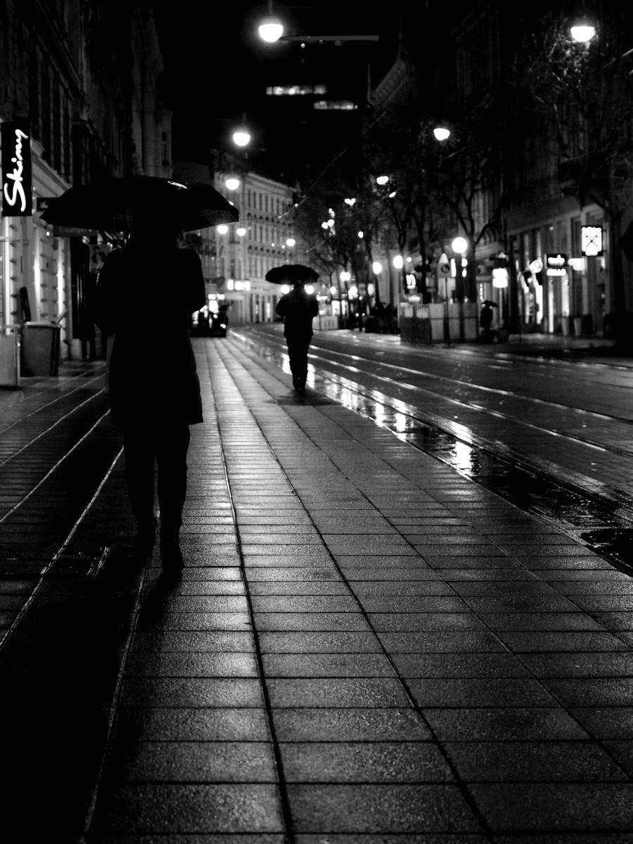 Passengers in the rainy city night - bw